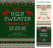 Ugly Sweater Christmas Party cards. Knitted pattern. Scandinavia Royalty Free Stock Image