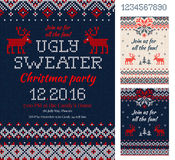 Ugly Sweater Christmas Party cards. Knitted pattern. Scandinavia Royalty Free Stock Photo