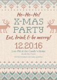 Ugly sweater Christmas party invite. Knitted background pattern scandinavian ornaments. Stock Images
