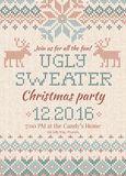 Ugly sweater Christmas party invite. Knitted background pattern scandinavian ornaments. Ugly sweater Christmas party invite. Vector illustration Handmade Stock Photography