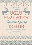 Ugly sweater Christmas party invite. Knitted background pattern scandinavian ornaments. Stock Photo
