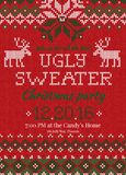 Ugly sweater Christmas party invite. Knitted background pattern scandinavian ornaments. Ugly sweater Christmas party invite. Vector illustration Handmade Stock Image