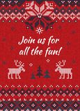 Ugly sweater Christmas party invite. Knitted background pattern stock illustration