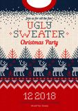 Ugly sweater Christmas party invite, knitted background pattern royalty free illustration