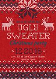 Ugly sweater Christmas party invite. Knitted background pattern scandinavian ornaments. Royalty Free Stock Image