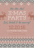 Ugly sweater Christmas party invite.. Vector illustration Handmade knitted background pattern with deers and snowflakes, scandinavian ornaments. White, beige Stock Photo