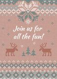 Ugly sweater Christmas party invite. Knitted background pattern scandinavian ornaments. Ugly sweater Christmas party invite. Vector illustration Handmade Royalty Free Stock Photos