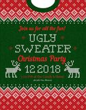Ugly sweater Christmas party invite. Knitted background pattern scandinavian ornaments. stock illustration