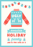 Ugly Sweater Holiday Party Invitation Card Royalty Free Stock Image