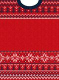 Ugly sweater Merry Christmas and Happy New Year greeting card frame border . Vector illustration knitted background seamless. Pattern with folk style vector illustration