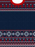 Ugly sweater Merry Christmas and Happy New Year greeting card frame border . Vector illustration knitted background seamless. Pattern with folk style stock illustration