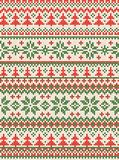 Ugly sweater Merry Christmas and Happy New Year greeting card frame border . Vector illustration knitted background seamless. Pattern with folk style royalty free illustration