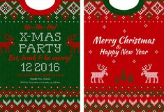 Merry Christmas and Happy New Year greeting card scandinavian ornaments Stock Images