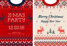 Merry Christmas and Happy New Year greeting card scandinavian ornaments Royalty Free Stock Images
