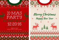 Merry Christmas and Happy New Year greeting card scandinavian ornaments Royalty Free Stock Photos