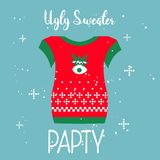 Ugly sweater Merry Christmas and Happy New Year stock illustration
