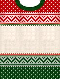 Ugly sweater Merry Christmas ornament scandinavian style knitted background frame border