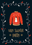 Ugly Sweater Party Invitation Card Royalty Free Stock Photos