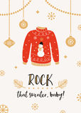 Ugly Sweater Party Invitation Card Stock Photo
