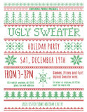 Ugly Sweater party invitation. Red and Green Ugly Christmas Sweater Party invitation template Royalty Free Stock Images