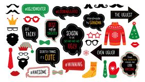 Ugly tasky Christmas sweater party photo booth props vector illustration