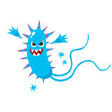 Ugly virus, germ, bacteria character with human face, sharp thorns. Ugly spiked virus, germ, bacteria character with human face and sharp thorns, cartoon vector stock illustration