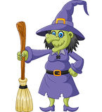 The ugly witch holding flying broom Stock Image
