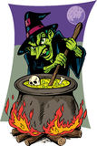 Ugly witch. Scary witch stirring her pot Stock Images