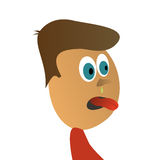 Ugly young guy. Vector illustration Stock Photo