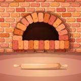 Ugn brasa, ugn, bagerikavel - tecknad filmillustration Arkivfoton