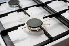 Ugn för gas för Closeupbildofa, problem Arkivbild