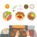 Ugn, lagad mat disk, kryddor och händer av den kockCooking And Cutting gurkan Förberedelse för mat för gallerkafékök stock illustrationer