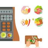 Ugn, lagad mat disk och händer av den kockCooking And Cutting gurkan Plats för förberedelse för mat för gallerkafékök royaltyfri illustrationer