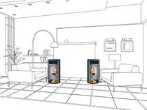 Ugnen i rummet Fotografering för Bildbyråer