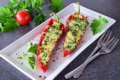 Ugnen lagade mat röd paprika som var välfylld med ost, vitlök och örter på en vit platta med den parcleyen och körsbärsröda tomat Arkivfoton