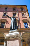 Ugo Bassi古铜色雕象。 波隆纳。 伊米莉亚-罗马甘。 意大利。 免版税库存图片