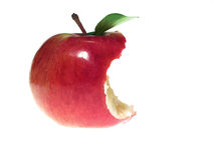 ugryzł czerwone jabłko obraz stock