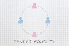 Uguaglianza di genere e pari opportunità, gruppo degli uomini e donne Fotografia Stock