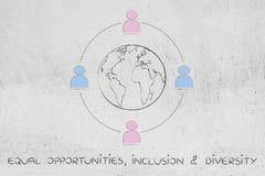 Uguaglianza di genere intorno al mondo, al gruppo degli uomini ed alle donne Immagine Stock