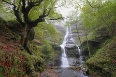 Uguna waterfall, Gorbea Natural Park in Bizkaia, Spain. Uguna waterfall, Gorbea Natural Park, Vizcaya, Spain royalty free stock photography