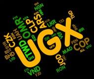 Ugx waluta Wskazuje rynku walutowego banknot I handel Zdjęcia Royalty Free