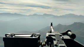 Uh-60 Blackhawk doorgunner. Picture from a Uh-60 Blackhawk Door Gunner in Afghanistan Royalty Free Stock Photos
