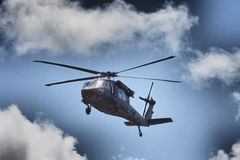 UH-60 Blackhawk. HDR image of helicopter in flight Stock Photography