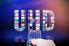 UHD超高定义4K, 8K电视技术 库存图片
