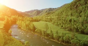 UHD 4K aerial view. Low flight over fresh cold mountain river, meadow and road at sunny summer morning. stock video footage