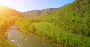 UHD 4K aerial view. Low flight over fresh cold mountain river, meadow and road at sunny summer morning. UHD 4K aerial view. Low flight over fresh cold mountain stock video footage