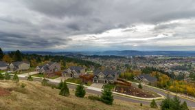UHD 4k Time Lapse of Clouds and Sky Over Residential Homes in Happy Valley Oregon. Ultra High Definition 4k Time Lapse Movie of Stormy Clouds and Sky Over stock footage
