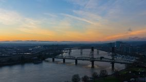 UHD 4k Time Lapse of Colorful Sunrise and Traffic Light Trails Over Downtown City of Portland Oregon. Ultra High Definition 4k Time Lapse Movie of Colorful stock footage