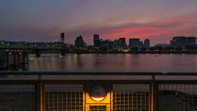 UHD 4k Time Lapse of Sunset Over Downtown City Skyline along Willamette River in Portland Oregon 4096x2304. UHD 4k Time Lapse Movie of Sunset Over Downtown City stock footage