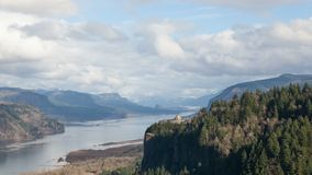 UHD 4k Time Lapse of Thick White Moving Clouds Over Columbia River Gorge with view of Crown Point stock footage